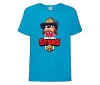 Футболка детская Brawl Stars Colonel Ruffs Sheriff (Бравл Старс Генерал Гавс Шериф) синяя 104 см