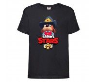 Футболка детская Brawl Stars Colonel Ruffs Sheriff (Бравл Старс Генерал Гавс Шериф) черная 104 см