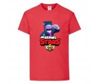 Футболка детская Brawl Stars DJ Frank (Бравл Старс Фрэнк Диджей) красная 104 см