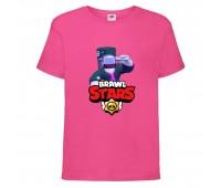 Футболка детская Brawl Stars DJ Frank (Бравл Старс Фрэнк Диджей) малиновая 104 см