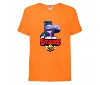 Футболка детская Brawl Stars DJ Frank (Бравл Старс Фрэнк Диджей) оранжевая 104 см