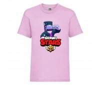 Футболка детская Brawl Stars DJ Frank (Бравл Старс Фрэнк Диджей) розовая 104 см