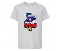 Футболка детская Brawl Stars DJ Frank (Бравл Старс Фрэнк Диджей) серая 104 см