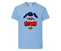 Футболка детская Brawl Stars Edgar (Бравл Старс Эдгар) голубая 104 см