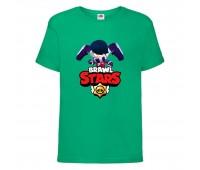 Футболка детская Brawl Stars Edgar (Бравл Старс Эдгар) зеленая 104 см