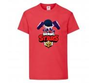 Футболка детская Brawl Stars Edgar (Бравл Старс Эдгар) красная 104 см