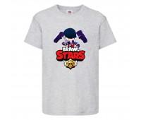 Футболка детская Brawl Stars Edgar (Бравл Старс Эдгар) серая 104 см