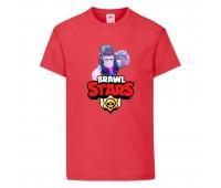 Футболка детская Brawl Stars Frank (Бравл Старс Фрэнк) красная 104 см