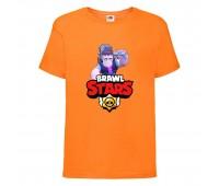 Футболка детская Brawl Stars Frank (Бравл Старс Фрэнк) оранжевая 104 см
