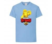 Футболка детская Brawl Stars Frank Gold (Бравл Старс Фрэнк Золотой) голубая 104 см