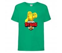 Футболка детская Brawl Stars Frank Gold (Бравл Старс Фрэнк Золотой) зеленая 104 см