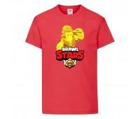 Футболка детская Brawl Stars Frank Gold (Бравл Старс Фрэнк Золотой) красная 104 см