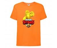 Футболка детская Brawl Stars Frank Gold (Бравл Старс Фрэнк Золотой) оранжевая 104 см