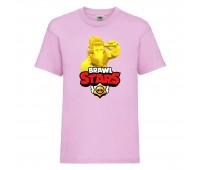 Футболка детская Brawl Stars Frank Gold (Бравл Старс Фрэнк Золотой) розовая 104 см
