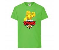 Футболка детская Brawl Stars Frank Gold (Бравл Старс Фрэнк Золотой) светлозеленая 104 см
