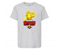Футболка детская Brawl Stars Frank Gold (Бравл Старс Фрэнк Золотой) серая 104 см