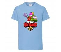 Футболка детская Brawl Stars Holiday Frank (Бравл Старс Фрэнк Праздничный) голубая 104 см