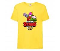 Футболка детская Brawl Stars Holiday Frank (Бравл Старс Фрэнк Праздничный) желтая 104 см