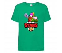 Футболка детская Brawl Stars Holiday Frank (Бравл Старс Фрэнк Праздничный) зеленая 104 см
