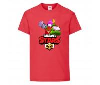 Футболка детская Brawl Stars Holiday Frank (Бравл Старс Фрэнк Праздничный) красная 104 см