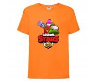 Футболка детская Brawl Stars Holiday Frank (Бравл Старс Фрэнк Праздничный) оранжевая 104 см
