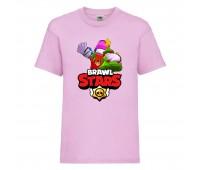 Футболка детская Brawl Stars Holiday Frank (Бравл Старс Фрэнк Праздничный) розовая 104 см