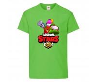 Футболка детская Brawl Stars Holiday Frank (Бравл Старс Фрэнк Праздничный) светлозеленая 104 см