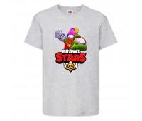 Футболка детская Brawl Stars Holiday Frank (Бравл Старс Фрэнк Праздничный) серая 104 см