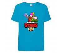 Футболка детская Brawl Stars Holiday Frank (Бравл Старс Фрэнк Праздничный) синяя 104 см