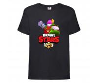 Футболка детская Brawl Stars Holiday Frank (Бравл Старс Фрэнк Праздничный) черная 104 см