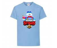 Футболка детская Brawl Stars Lou (Бравл Старс Лу) голубая 104 см
