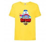 Футболка детская Brawl Stars Lou (Бравл Старс Лу) желтая 104 см