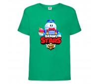 Футболка детская Brawl Stars Lou (Бравл Старс Лу) зеленая 104 см
