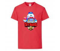 Футболка детская Brawl Stars Lou (Бравл Старс Лу) красная 104 см