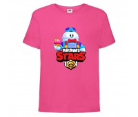 Футболка детская Brawl Stars Lou (Бравл Старс Лу) малиновая 104 см