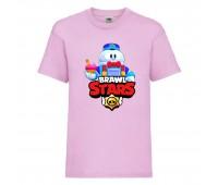 Футболка детская Brawl Stars Lou (Бравл Старс Лу) розовая 104 см