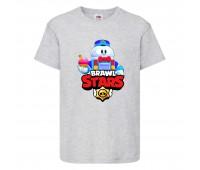 Футболка детская Brawl Stars Lou (Бравл Старс Лу) серая 104 см