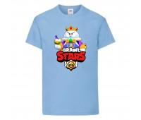 Футболка детская Brawl Stars Lou King (Бравл Старс Лу Король) голубая 104 см