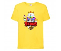 Футболка детская Brawl Stars Lou King (Бравл Старс Лу Король) желтая 104 см