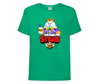 Футболка детская Brawl Stars Lou King (Бравл Старс Лу Король) зеленая 104 см
