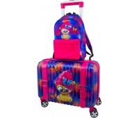 Чемодан DeLune Lune-002 детский с 3D изображением в комплекте с рюкзаком для девочек