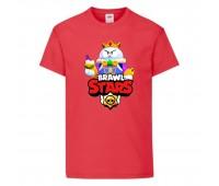Футболка детская Brawl Stars Lou King (Бравл Старс Лу Король) красная 104 см