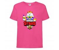 Футболка детская Brawl Stars Lou King (Бравл Старс Лу Король) малиновая 104 см