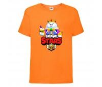 Футболка детская Brawl Stars Lou King (Бравл Старс Лу Король) оранжевая 104 см