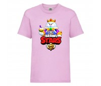 Футболка детская Brawl Stars Lou King (Бравл Старс Лу Король) розовая 104 см