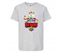 Футболка детская Brawl Stars Lou King (Бравл Старс Лу Король) серая 104 см