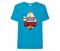 Футболка детская Brawl Stars Lou King (Бравл Старс Лу Король) синяя 104 см