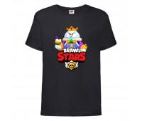 Футболка детская Brawl Stars Lou King (Бравл Старс Лу Король) черная 104 см