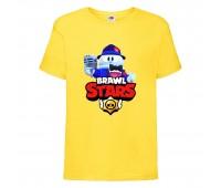 Футболка детская Brawl Stars Lou Singer (Бравл Старс Лу Певец) желтая 104 см