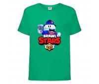 Футболка детская Brawl Stars Lou Singer (Бравл Старс Лу Певец) зеленая 104 см